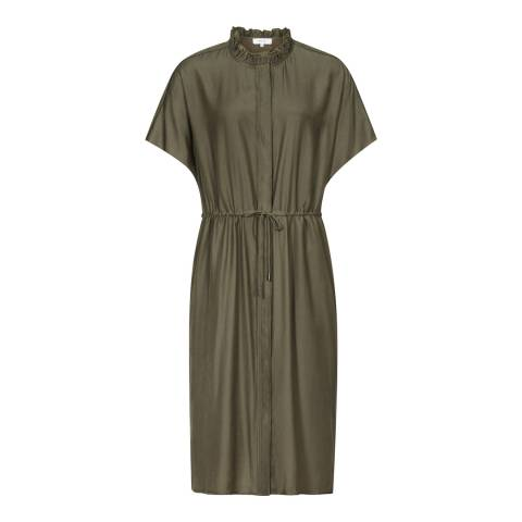 Reiss Khaki Isabeli Short Sleeved Dress