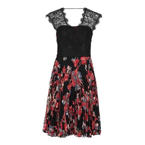 Reiss Black/Red Haven Lace Burnout Dress