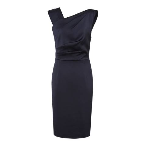 Reiss Navy Tania Asymmetric Dress