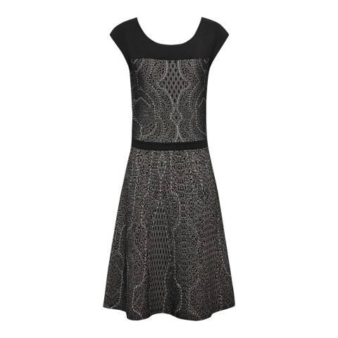 Reiss Black Odelia Jacquard Detail Dress