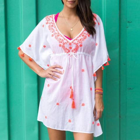 Aspiga Pink Cotton Melina Embroidered Kaftan
