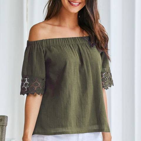 Aspiga Khaki Lila Off The Shoulder Top