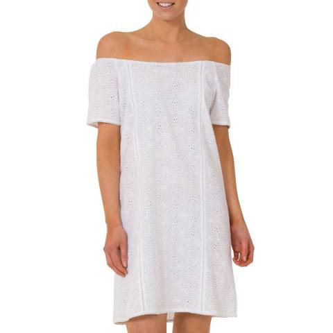 Aspiga White Cotton Off The Shoulder Dress