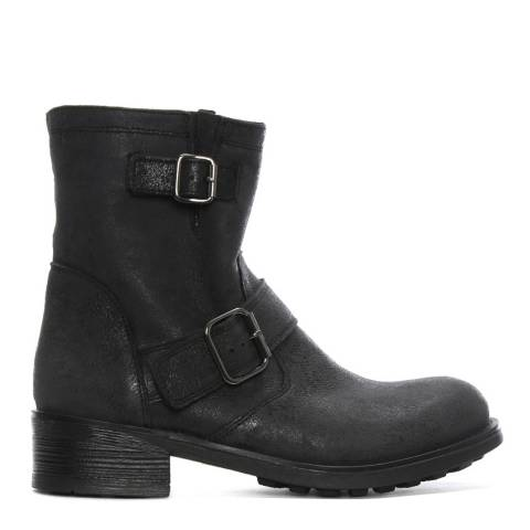 Morichetti Grey Pebbled Leather Biker Boots