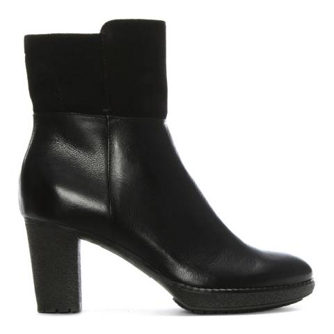 Manas Black Leather & Suede Contrast Ankle Boots