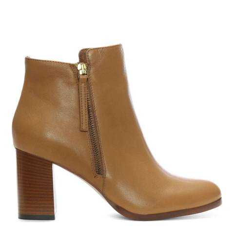 Lamica Tan Leather High Block Heel Ankle Boots