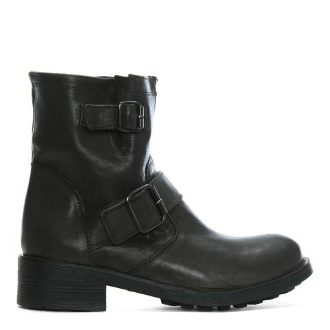 Morichetti Grey Leather Double Buckle Biker Boots
