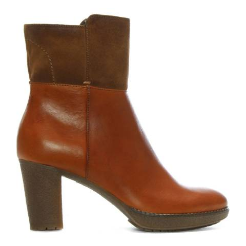 Manas Tan Leather & Suede Contrast Ankle Boots