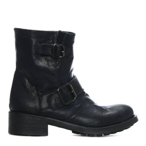 Morichetti Navy Distressed Leather Biker Boots
