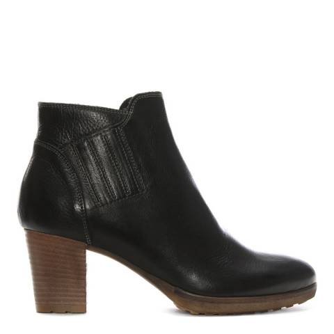 Manas Black Leather Stacked Heel Ankle Boots