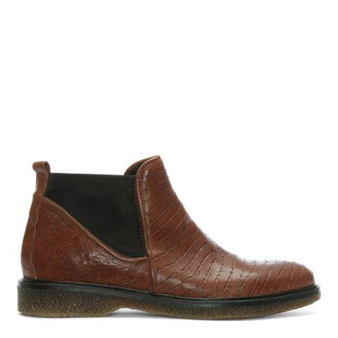 Lamica Tan Reptile Leather Chelsea Boots