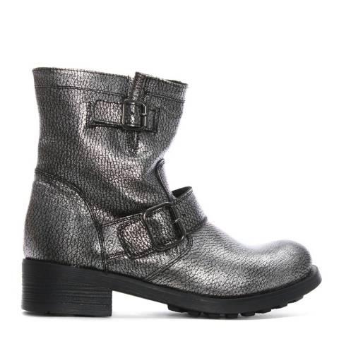 Morichetti Silver Metallic Leather Biker Boots