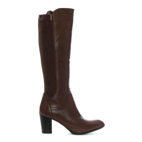 Lamica Tan Leather Block Heel Knee Boots