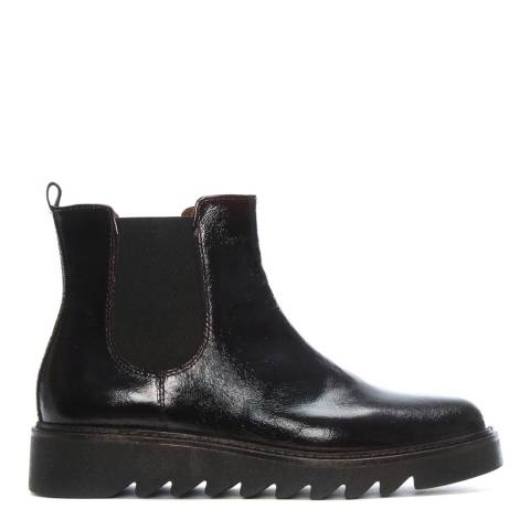 Morichetti Burgundy Patent Saw Wedge Chelsea Boots