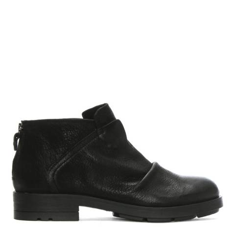 Morichetti Black Leather Ruched Ankle Boots