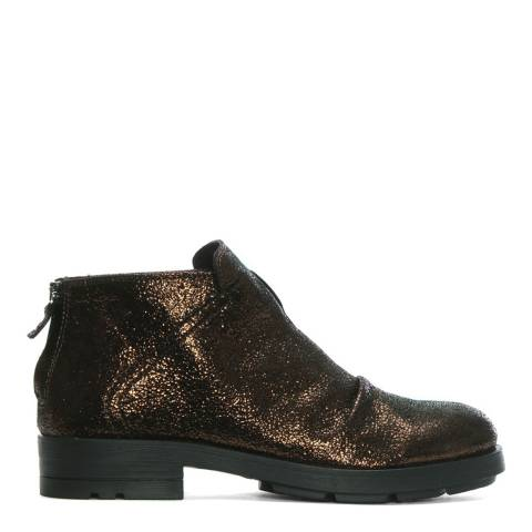 Morichetti Bronze Metallic Leather Ruched Ankle Boots