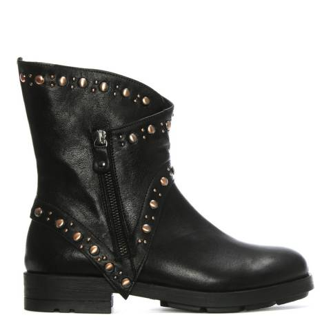 Morichetti Black Leather Matha Studded Biker Boots