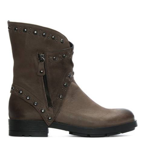 Morichetti Taupe Leather Studded Biker Boots