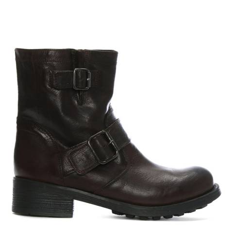 Morichetti Bordeux Leather Double Buckle Biker Boots