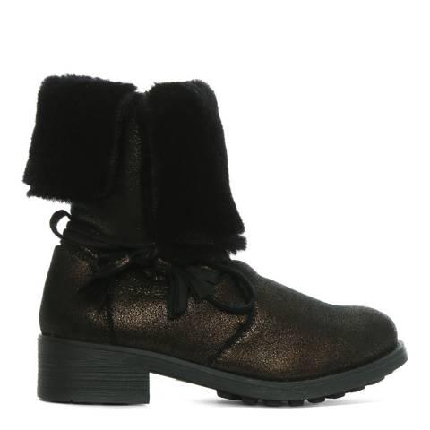 Morichetti Bronze Fur Cuff Ankle Boots