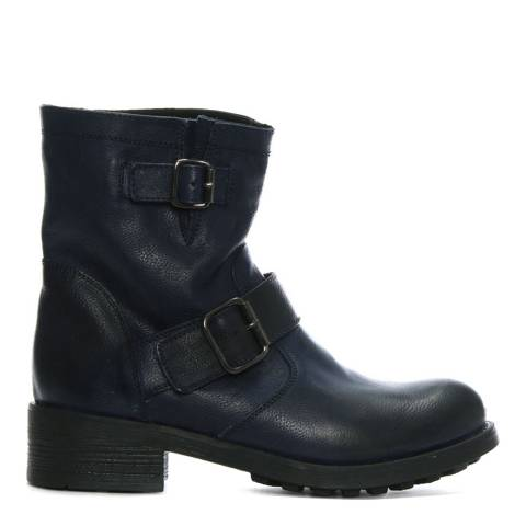 Morichetti Navy Pebbled Leather Biker Boots