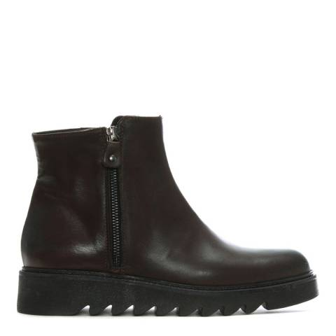 Morichetti Brown Leather Saw Edge Ankle Boots