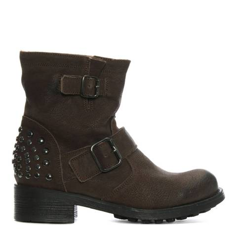 Morichetti Brown Leather Studded Biker Boots