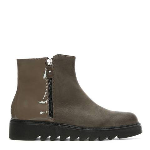 Morichetti Taupe Leather Contrast Ankle Boots
