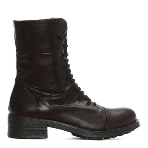 Morichetti Brown Leather Elasticated Lace Biker Boots