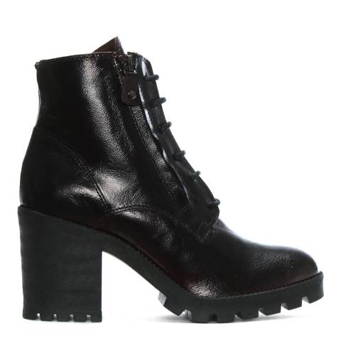 Morichetti Burgundy Patent Leather Block Heel Ankle Boots