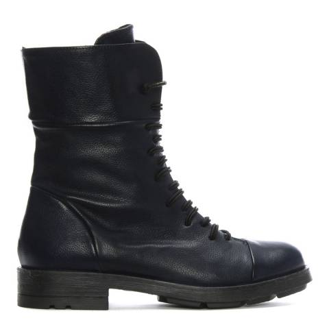 Morichetti Navy Leather Elasticated Lace Biker Boots