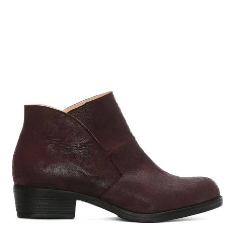 Morichetti Burgundy Leather Shaped Top Line Ankle Boots