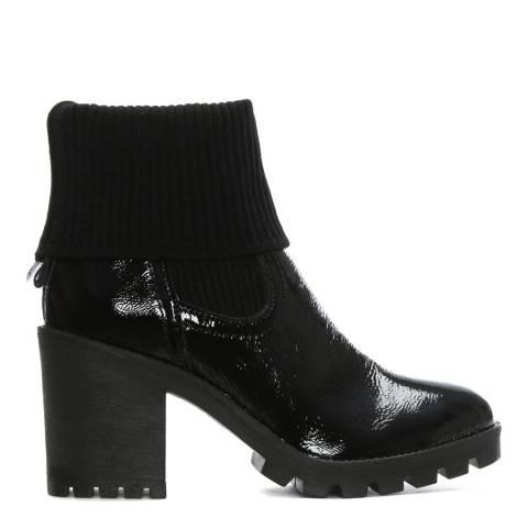 Morichetti Black Patent Leather Sock Cuff Chelsea Boots