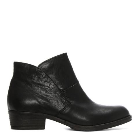 Morichetti Black Leather Shaped Top Line Ankle Boots