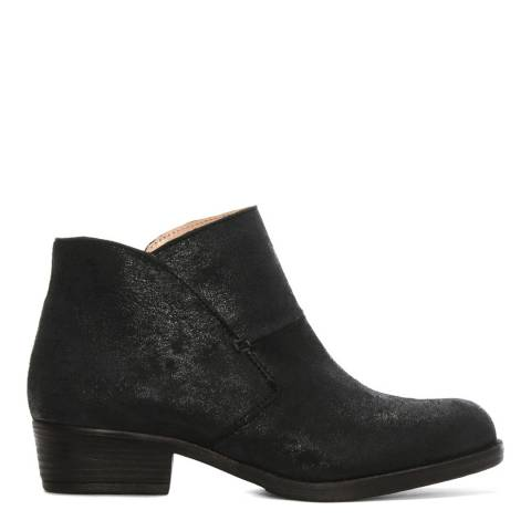 Morichetti Black Metallic Leather Shaped Top Line Ankle Boots