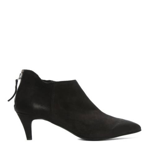 Morichetti Black Leather Kitten Heel Ankle Boots