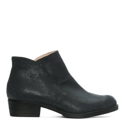 Morichetti Grey Leather Shaped Top Line Ankle Boots