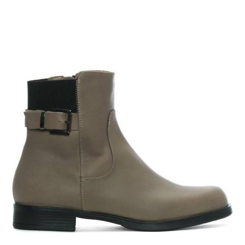 Morichetti Taupe Leather Elasticated Ankle Boots