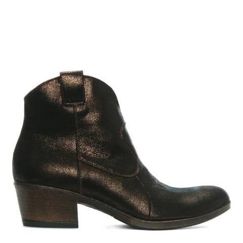 Morichetti Bronze Metallic Leather Western Ankle Boots