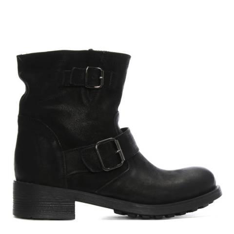Morichetti Black Leather Double Buckle Biker Boots