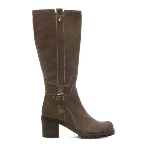 Manas Taupe Suede Contrast Stitch Knee Boots