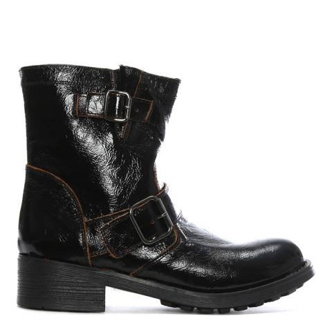 Morichetti Black Patent Leather Biker Boots