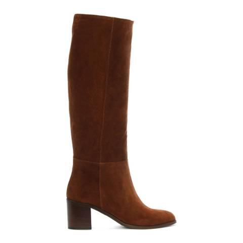 Lamica Tan Suede Block Heel Knee Boots