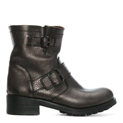 Morichetti Bronze Pebbled Leather Biker Boots