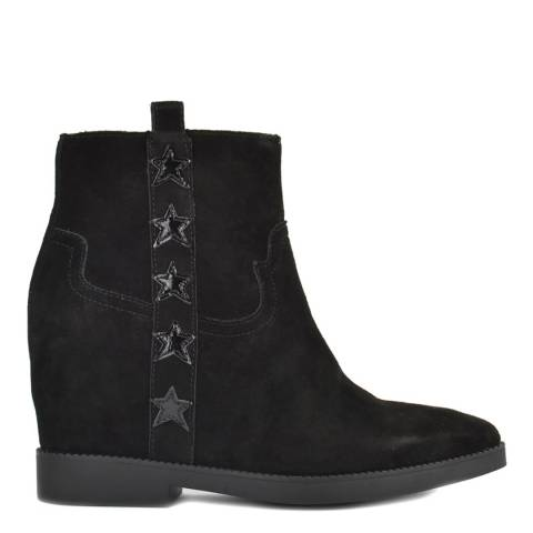 ASH Black Suede Goldie Wedge Ankle Boots