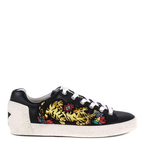 ASH Black Leather Tiger Embroidered Niagara Trainers