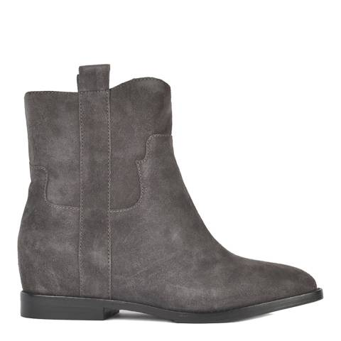 ASH Grey Suede Jane Low Wedge Ankle Boots