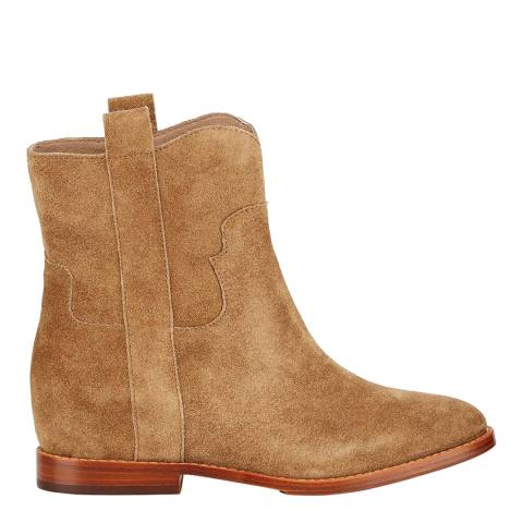 ASH Brown Suede Jane Low Wedge Ankle Boots