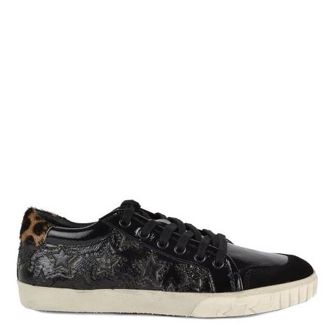 ASH Black Patent Leather Star Print Majestic Trainers