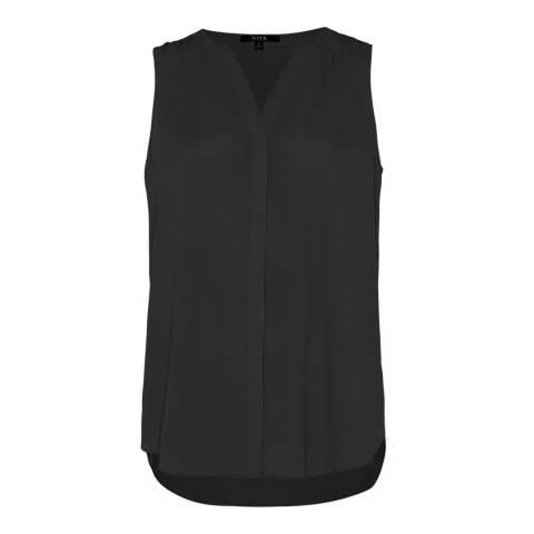NYDJ Black Sleeveless Pintuck Pleatback Blouse